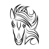 vetor de arte em linha de cabeça de cavalo. adequado para uso como decoração ou logotipo.