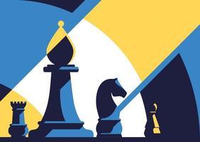 modelo de banner com diferentes peças de xadrez. vetor