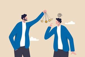 liderança para controlar e gerenciar funcionários, persuadir cliente ou cliente, conceito de influência ou manipulação. vetor