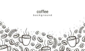 grãos de café e fundo de xícara de café vetor