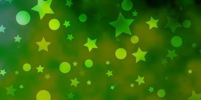 pano de fundo de vetor verde e amarelo claro com círculos, estrelas.