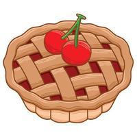 torta de cereja em estilo design plano vetor