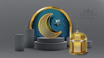 projeto ramadan kareem com lâmpada árabe de ouro. ilustração vetorial. vetor