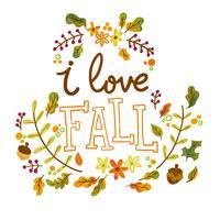 Folhas de outono bonitos e ramos com letras vetor
