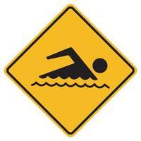 sinal de proibido nadar no fundo branco vetor