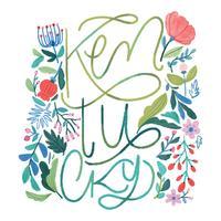 Flores Em Aquarela Com Kentucky Lettering vetor