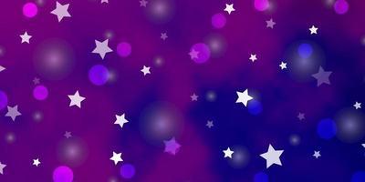 layout de vetor roxo claro, rosa com círculos, estrelas.