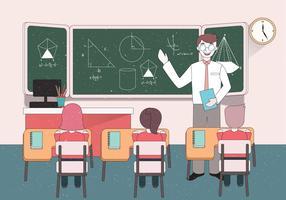 Jovem professor de matemática masculino vector