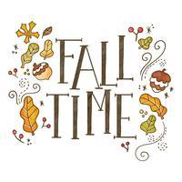 Fundo de outono bonito com folhas e letras vetor