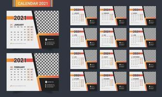 Modelo de calendário de mesa moderno de 12 páginas. vetor
