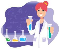 Ilustração feminina cientista vetor
