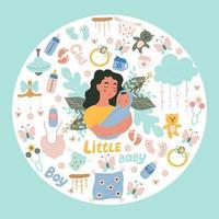 mulher segurando um pequeno bebê nos braços, um conjunto de itens para recém-nascidos, objetos de vetor em estilo doodle, rabiscos coloridos.