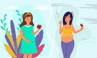 estilo de vida saudável da mulher grávida e o conceito de estilo de vida pouco saudável. vetor