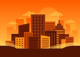 Skyline da cidade ao pôr do sol de fundo Vector