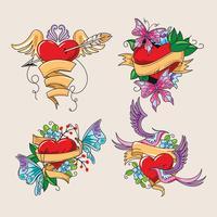 Bela coleção de tatuagem de coração vetor