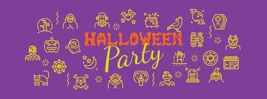 banner de festa de halloween vetor
