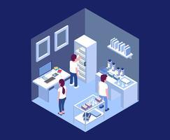 Ilustração isométrica de laboratório vetor