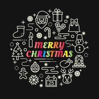 letras gradientes coloridas de natal com conjunto de ícones vetor