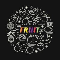 letras gradientes coloridas de frutas com conjunto de ícones vetor