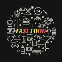 letras gradientes coloridas de fast food com conjunto de ícones vetor