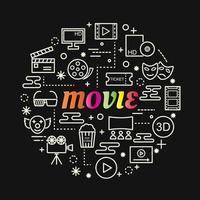 filme letras gradientes coloridas com conjunto de ícones vetor