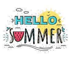 Olá Verão tipografia Vector