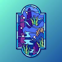 Sob o vetor de janela de vitral do mar