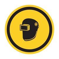 símbolo de desgaste de capacete de soldagem isolado em fundo branco, ilustração vetorial eps.10 vetor