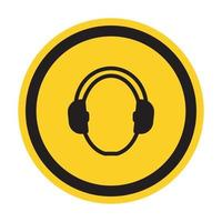 símbolo usar proteção auditiva isolada em fundo branco, ilustração vetorial eps.10