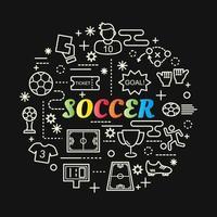 letras gradientes coloridas de futebol com ícones de linha vetor