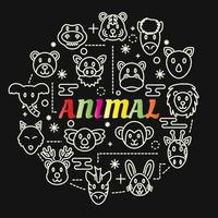 letras gradientes coloridas de animais com ícones de linha vetor