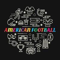 letras gradientes coloridas de futebol americano com ícones de linha vetor