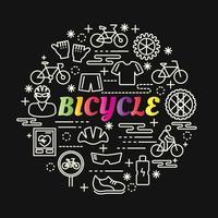 letras gradientes coloridas de bicicleta com ícones de linha