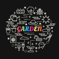 letras gradientes coloridas de jardim com ícones de linha vetor