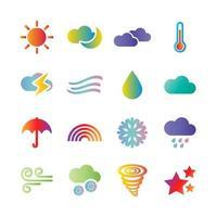 ícones de gradiente de vetor de clima