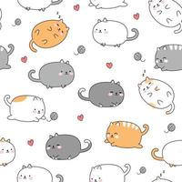 fofo gato gordinho desenho desenho animado doodle padrão sem emenda vetor
