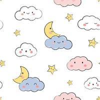 lua nuvem fofa e desenho de céu branco estrela doodle padrão sem emenda vetor