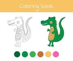 livro para colorir com um lindo animal selvagem, um jacaré. para crianças do jardim de infância, pré-escola e idade escolar. vetor