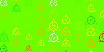luz verde, amarelo padrão de vetor com elementos mágicos.