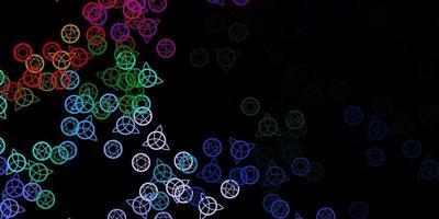fundo escuro do vetor multicolor com símbolos ocultos.
