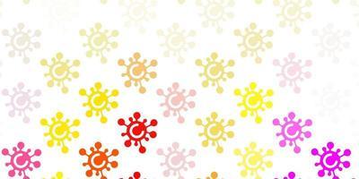 luz de fundo multicolorido com símbolos covid-19. vetor