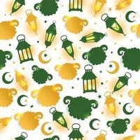 Padrão sem emenda de eid al adha com ilustração de ovelhas para fundo de celebração de eid mubarak. vetor