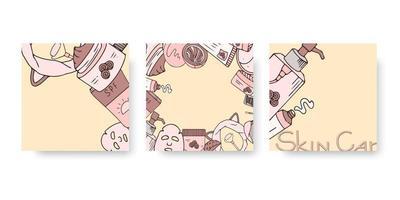bandeira de cuidados da pele definida para mídias sociais com cosméticos desenhados à mão. ilustração vetorial para beleza. cuidados com a pele coreana vetor