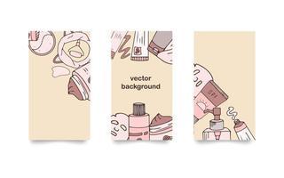 conjunto de fundos para histórias de mídia social. mão desenhada cosméticos. ilustração vetorial para beleza. cuidados com a pele coreana vetor