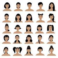 conjunto de penteados femininos vetor