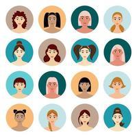 conjunto de penteados femininos de avatar vetor