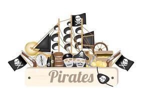 placa de madeira pirata com navio pirata, bússola, moeda de ouro, barril de rum, caixa do tesouro, bandeira, arma, tapa-olho vetor