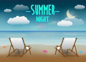 noite de verão com duas cadeiras e praia ao fundo vetor