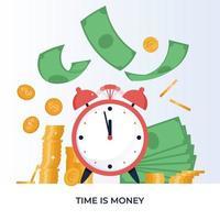 o tempo é o conceito de dinheiro. investimentos financeiros, aumento de receita, gestão de orçamento, conta poupança. ilustração vetorial em estilo simples vetor