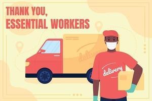 Mídia social do trabalhador do serviço de entrega pós-maquete vetor